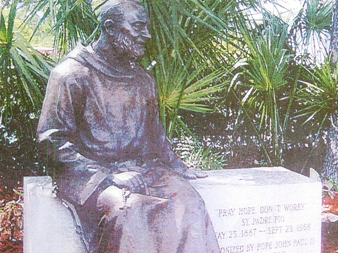 The St. Landry courthouse statue will be bronze and similar to the one here of Padre Pio. Photo submitted by Bruce Gaudin, Opelousas Rotary Club.