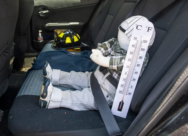 The temperature tops 110 degrees in the back seat of a car during a demonstration by law enforcement last summer.