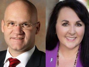 Gilbert mayor candidates Matt Nielsen (left) and Brigette Peterson.