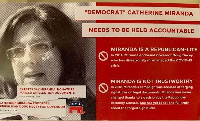 ProgressNow Arizona campaign mailer attacking Catherine Miranda