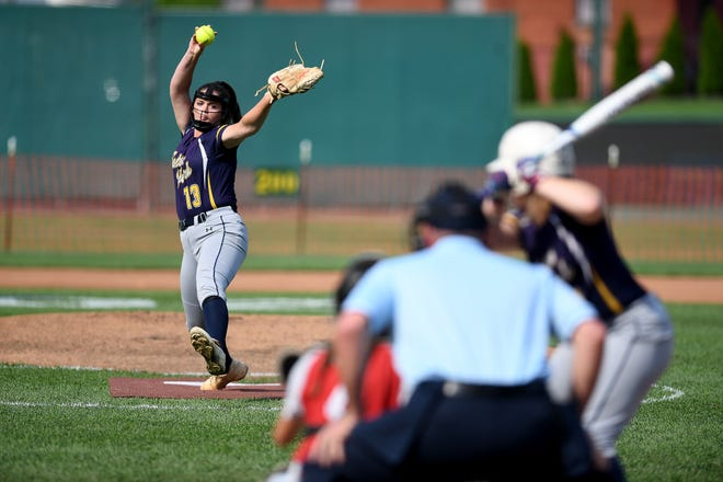 Eastern York's Maelynn Leber delivers a pitch to Golden Knights teammate Analise Fenwick during the high school senior softball invitational at PeoplesBank Park, Thursday, July 16, 2020