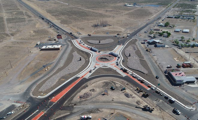 An aerial view of the new Silver Springs roundabout.