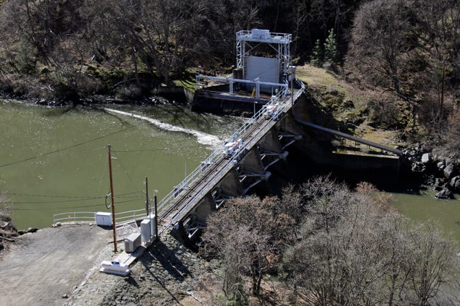 A dam on the lower Klamath River known as Copco 2 is seen near Hornbrook, Calif.