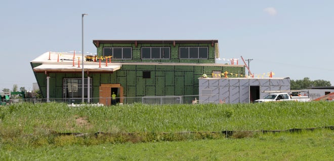The Johnsonville store under construction is taking shape as seen, Friday, July 17, 2020, at Johnsonville near Sheboygan Falls, Wis.
