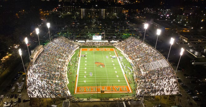 An aerial view shows a full house at Bragg Memorial Stadium.