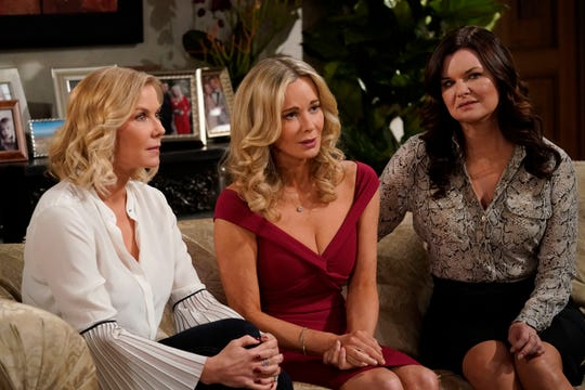 Tom, far right, who has played Katie Logan since 2007, in a scene with her onscreen sisters, Katherine Kelly Lang (as Brooke Logan) and Jennifer Gareis (Donna Logan).