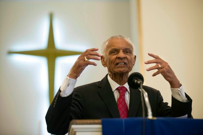 In this  June 19, 2014, file photo, Civil Rights pioneer Rev. C.T. Vivian preaches during a commemoration of the 50th anniversary of the Civil Rights Act in Knoxville, Tenn.