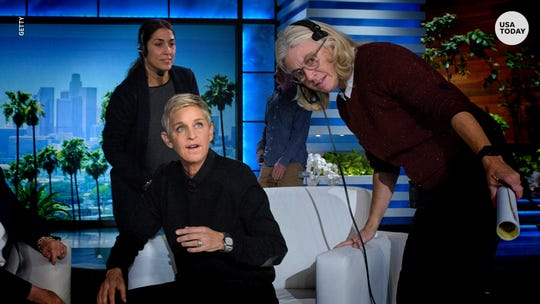 "Ellen DeGeneres on the set of ""The Ellen DeGeneres Show."" Current and former employees of the talk show have accused staff of creating a toxic workplace, and DeGeneres has offered apologies."