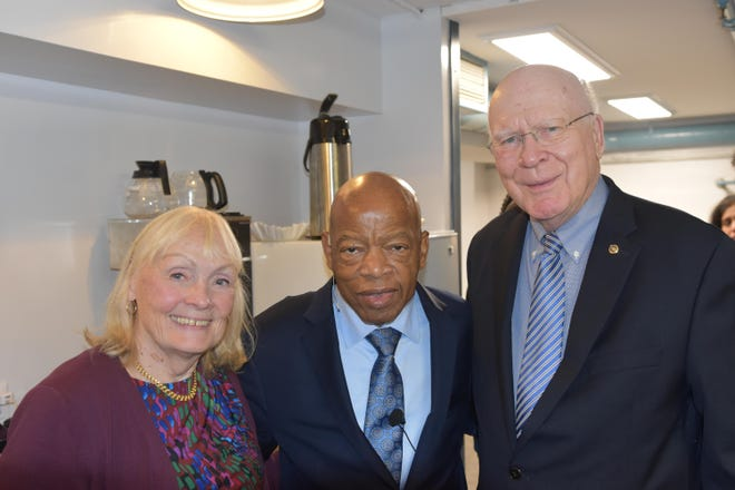 From left, Marcelle Leahy, Rep. John Lewis and Sen. Patrick Leahy backstage at the Flynn Center in Burlington on Oct. 7, 2019. Leahy had introduced Rep. Lewis when he spoke at the even.