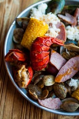 Hook & Reel's menu features a variety of cajun country seafood boils.