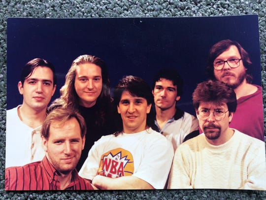 Bay City native Mark Turmell, second from top left, with other members of the crew who worked on NBA Jam, the iconic 1990s video game.