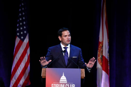FILE - In this Aug. 21, 2019, file photo, Sen. Marco Rubio, R-Fla., speaks during a Forum Club meeting, in West Palm Beach, Fla.