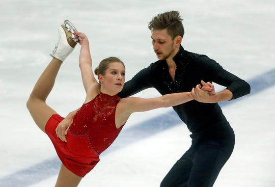 In this Sept. 14, 2018 photo, Ekaterina Alexandrovskaya and Harley Windsor, of Australia, perform during the pairs free skate at the U.S. International Figure Skating Classic, in Salt Lake City.