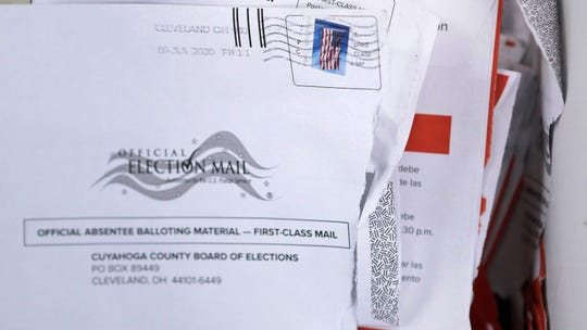 Applications for voter ballots are seen at the Cuyahoga County Board of Elections.