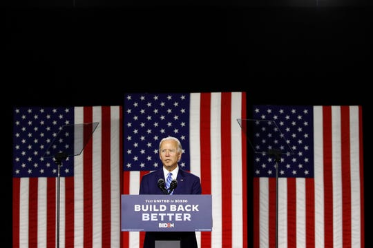 Democratic presidential candidate, former Vice President Joe Biden speaks during a campaign event, Tuesday, July 14, 2020, in Wilmington, Del.