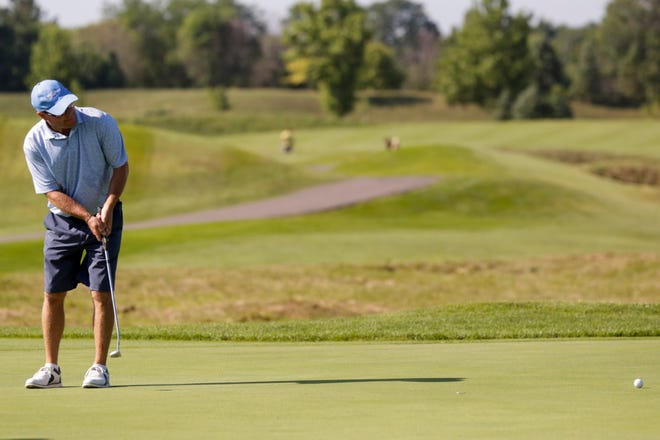 Brent Hofman putts on hole three during the first round of the 2020 Men's City Golf Championship, Saturday, July 18, 2020 at Birck Boilermaker Golf Complex in West Lafayette.