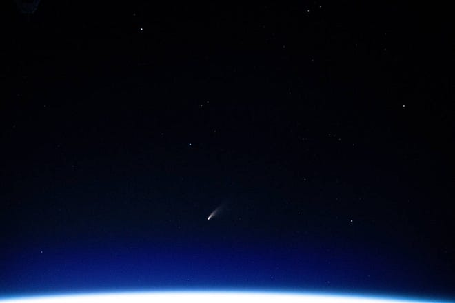 The NEOWISE Comet photographed by the International Space Station on July 5, 2020.
