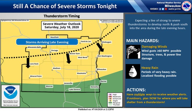 The National Weather Service's forecast for another round of thunderstorms in the Milwaukee area late Saturday.