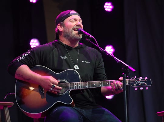 Lee Brice performs at Kapco Metal Stamping's 'Live at the Lot' drive-in concert series in a company parking lot in Grafton on Friday, July 17, 2020.