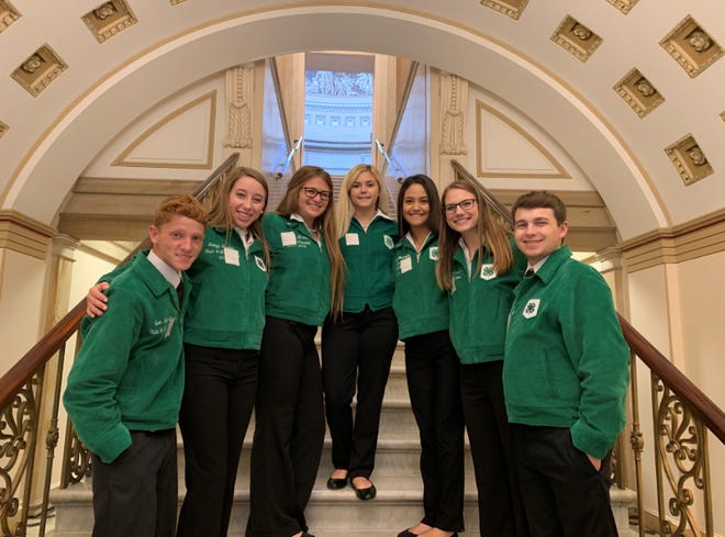 The 2019-20 4-H state leadership team, shown here at last year's state conference, will be saying farewell to the senior 4-H members during the virtual state conference. They are, from left to right, Evan Webster, president; Kaitlyn Kircher, parliamentarian; McKenzie Luna, reporter; Taylor Moore, secretary; Helena Ramirez, vice president; Alyssa McAlister, treasurer; and Randy Halvorsen; song and recreation leader.