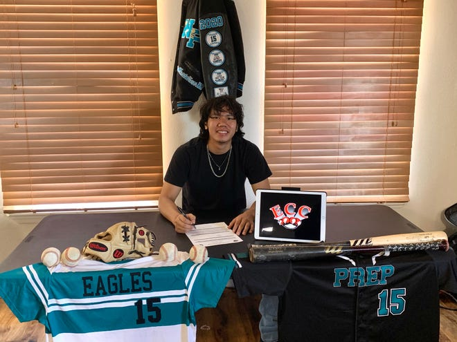 Navajo Prep's Thomas Montanez signs his National Letter of Intent on Saturday, July 18, 2020, to continue his baseball career at Erie Community College in Buffalo, New York.