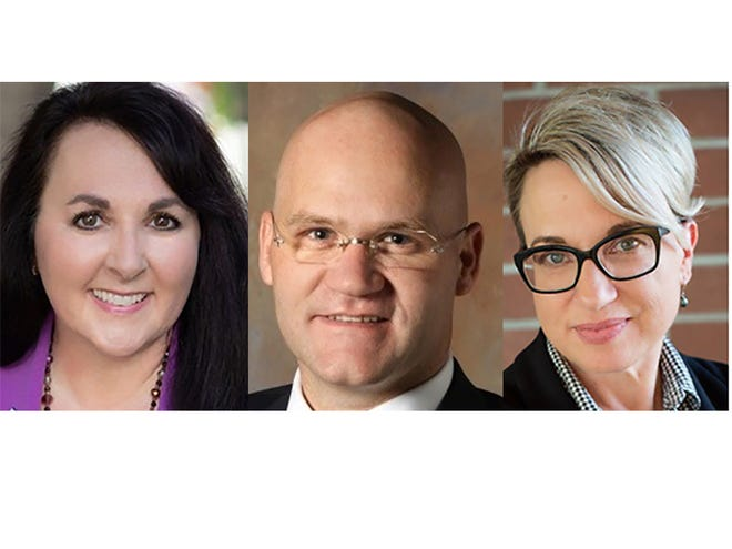 Gilbert mayor candidates (from left) Brigette Peterson, Matt Nielsen and Lynne King Smith.