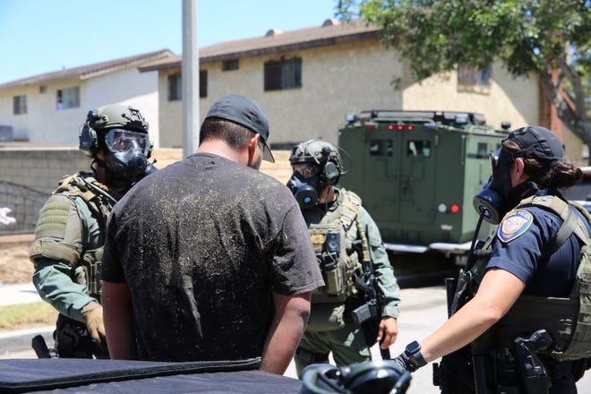 This was the scene of a stolen vehicle arrest in Oxnard on Friday afternoon.