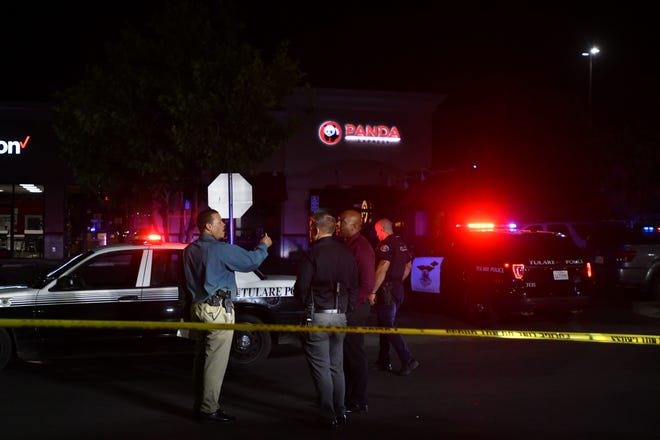 A Tulare officer is recovering from a gunshot wound after his weapon discharged while apprehending a suspect outside of Panda Express on Prosperity Avenue Friday night.