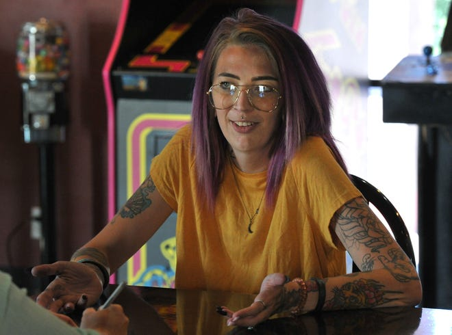 Katie Bindel, an ally with the Black Lives Matter movement talks Friday about personal threats and threats against Stone Oven Pizza where she works.