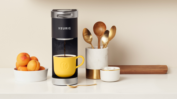 This mini coffee maker won't take up too much counter space.