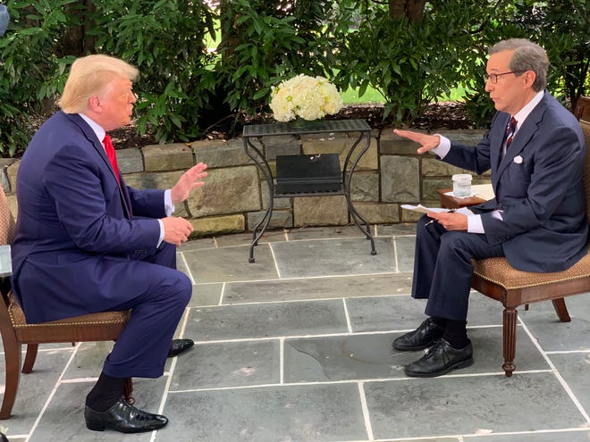 President Donald Trump answers a question from Chris Wallace on 'Fox News Sunday' on Sunday, July 19.