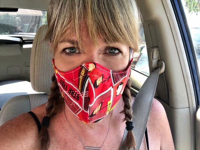 """From Etsy, I ordered three black face masks and one that looks like the guy from """"V for Vendetta"""" for Sawyer to wear back to college, and three for me: mermaids, dinosaurs and """"Star Trek,"""" just because they were cute."""