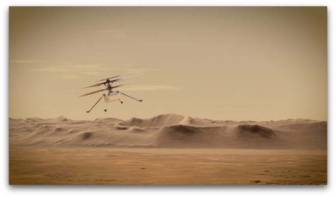 An artist's concept of NASA's Ingenuity Mars Helicopter, a mini helicopter capable of flying for up to 90 seconds at a stretch. The technology experiment will be the first aircraft to attempt controlled flight on another planet.