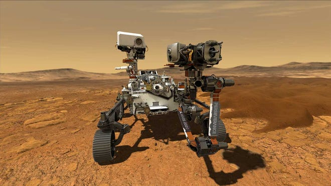 This illustration shows NASA's Perseverance rover operating on the surface of Mars. Perseverance.  The car-size Perseverance is the fifth rover sent to Mars.