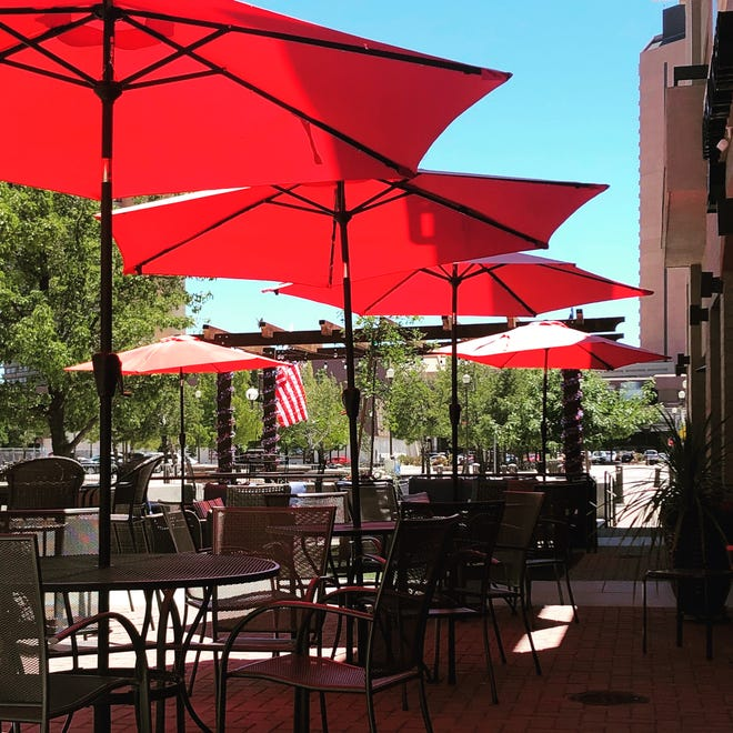 The patio at Engine 8 Urban Winery, which lies off Victorian Plaza near the Cinemark theater in Sparks.