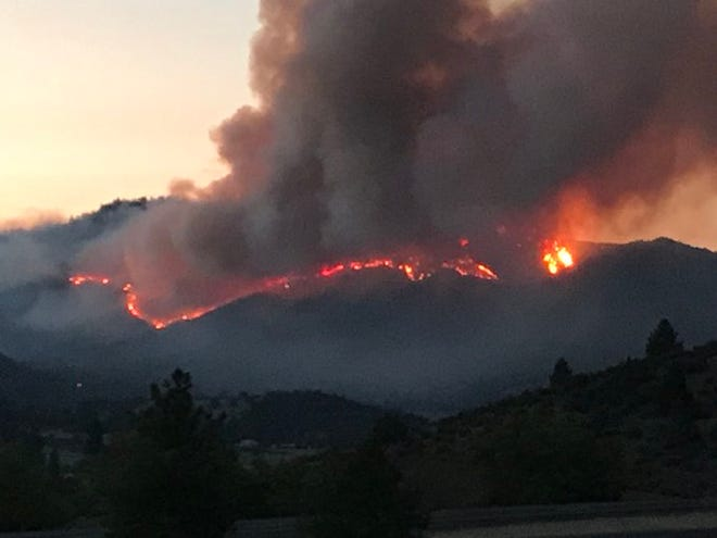 The Badger Fire burns off Badger Mountain in Siskiyou County on Saturday, July 18, 2020.