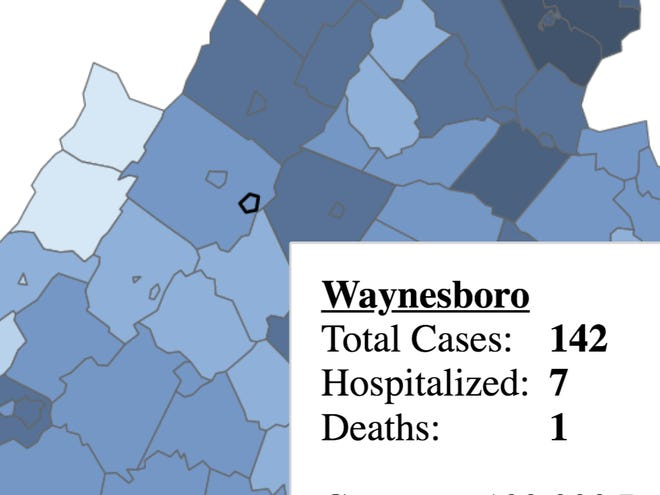 An image from the Virginia Department of Health COVID dashboard for July 19 shows a death in Waynesboro