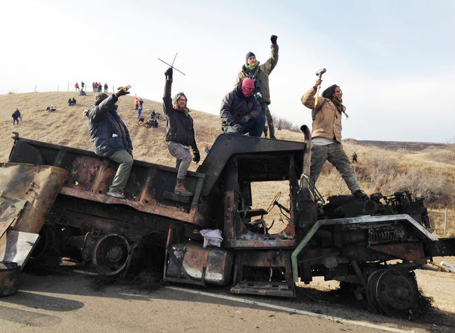 Standing Rock Indian Reservation, North Dakota Police and protesters clashed in the fight over the Dakota Access Pipeline, which protesters said would harm the Standing Rock Sioux Tribe's drinking water. Such protests have spurred a bill in the Kansas Legislature to deter them.