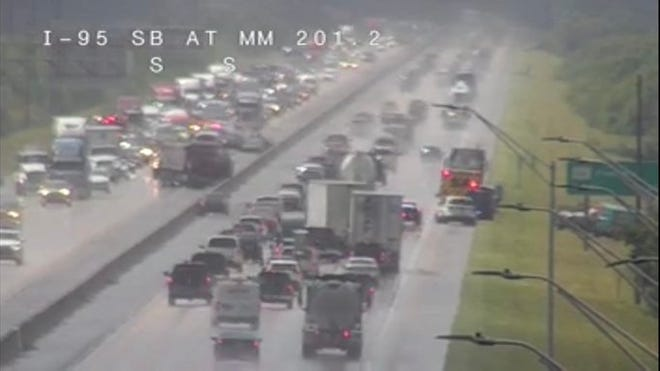 Fire crews responded to a crash on Interstate 95 near Cocoa just after 11 a.m. Monday