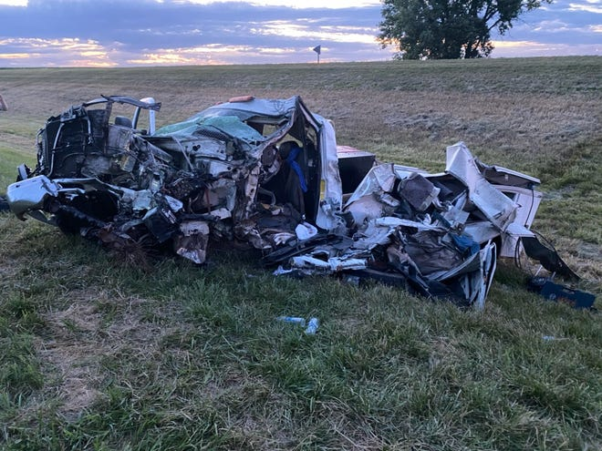 Five people were taken to the hospital after a stolen truck crashed into two vehicles on Iowa Highway 44 on Sunday, July 19, 2020. The Iowa State Patrol suspected drunken driving played a role in the crash.