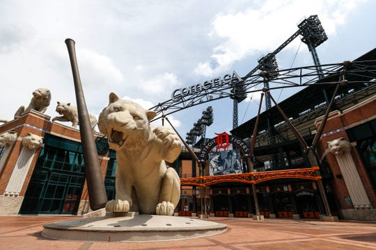 The main entrance of the Detroit Tigers home stadium Comerica Park, July 10, 2020.