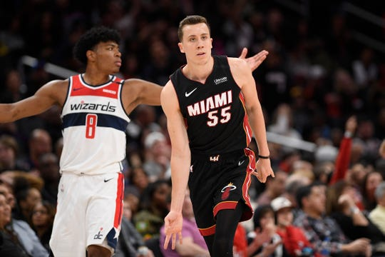 Miami Heat guard Duncan Robinson, a former Michigan basketball player, has been involved in fundraising efforts in South Florida during the pandemic.