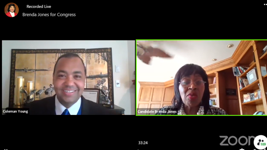 Screenshots of Brenda Jones and Coleman A. Young II during a Facebook Live virtual town hall last week.