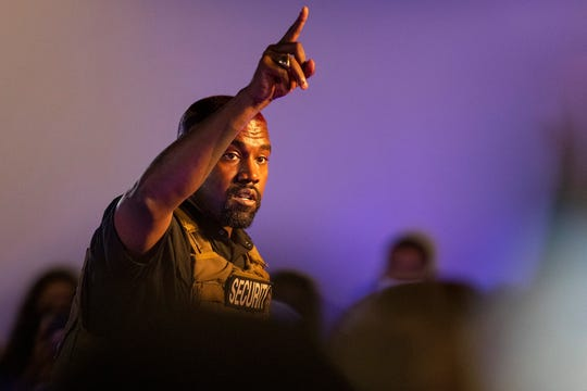 Kanye West, in his first event since declaring himself a presidential candidate, delivered a lengthy monologue Sunday touching on topics from abortion and religion to international trade and licensing deals. (Lauren Petracca Ipetracca/The Post And Courier via AP)