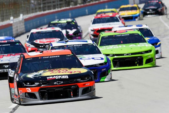 Austin Dillon, driver of the Bass Pro Shops/Tracker Off-Road, Richard Childress Racing Chevrolet Camaro, races to victory Sunday. at Texas Motor Speedway in Ft. Worth, Texas.  (Garry Eller/HHP for Chevy Racing)