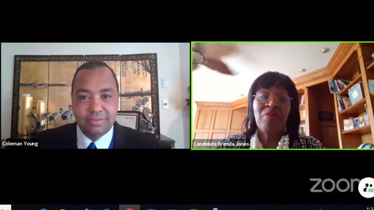 Screenshots of Brenda Jones and Coleman A. Young II during a Facebook Live virtual town hall.