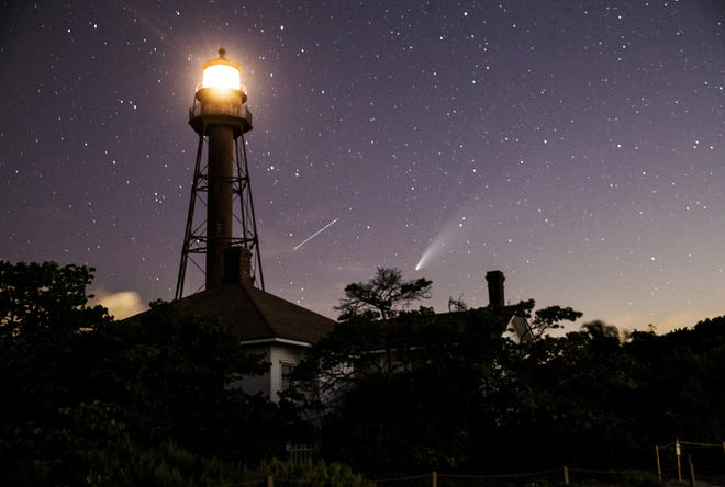 Comet Neowise can be seen from the Sanibel Lighthouse area on Sunday night after sunset, July 19, 2020.