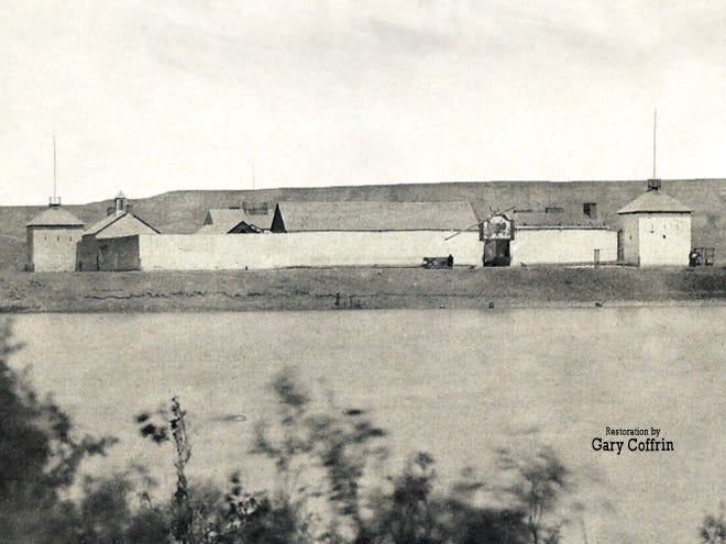 Fort Benton Circa 1860 By James D Hutton Of The Raynolds Expedition  The first documented photograph of old Fort Benton, circa 1860 by James D. Hutton of the Raynolds Expedition
