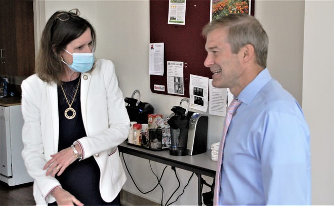 """State Rep. Tracy Richardson, R-Marysville, left, talks with U.S. Rep. Jim Jordan, R-Urbana, prior to a rally with members of the Marion County Republican Party on Friday, July 17, 2020, at the Harding Centre in downtown Marion. Jordan told local GOP members he's concerned about the """"radical"""" agenda Democrats are promoting during this campaign cycle."""