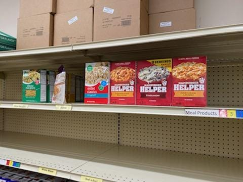 The shelves at the Sussex Food Pantry are at the lowest of the year.